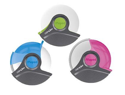 Goma de borrar redonda con protector de plástico
