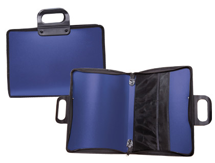 Cartera portadocumentos azul con asa y cremallera