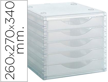 fichero de 5 cajones transparente translucido.