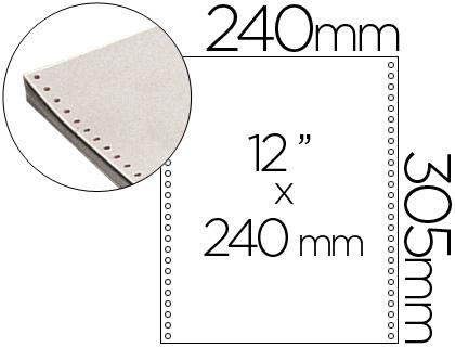 "Papel continuo blanco original 240 mm x 12"" caja de 2500 hojas"