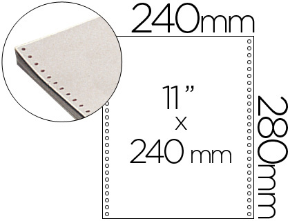 "Papel continuo blanco original 240 mm x 11"" caja de 2500 hojas."