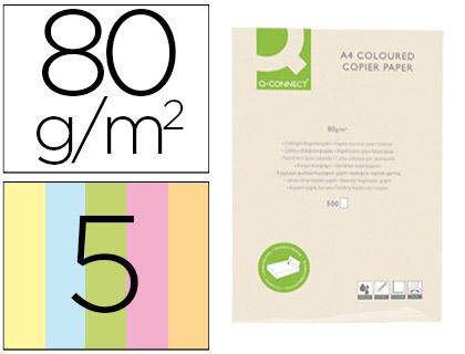 Papel de 5 colores claros A-4 80 grs. 500 hojas