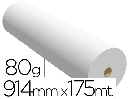 Papel para plotter blanco 80 grs 914 mm x 175 m