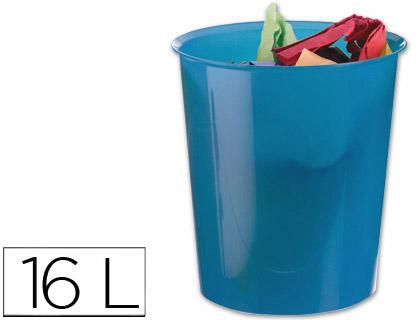 papelera de plástico azul