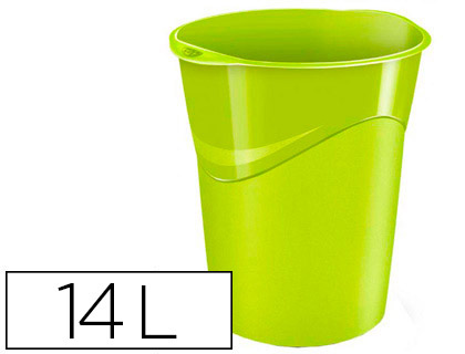 papelera de plástico verde