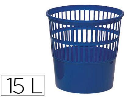 papelera de rejilla azul