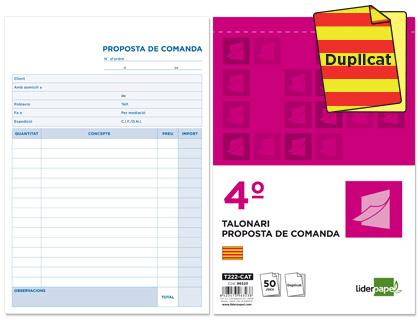 Talonario de pedidos y presupuestos en Catalán Duplicado 114 x 210 mm. (5 unds.)
