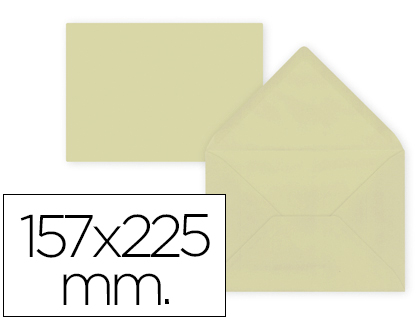 Sobre Crema de 157 x 225 mm. Solapa pico (pack de 9 unds)
