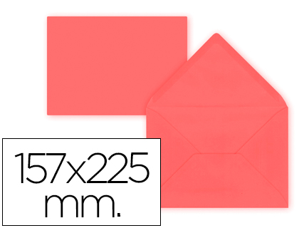 Sobre Rojo de 157 x 225 mm. Solapa pico (pack de 9 unds)