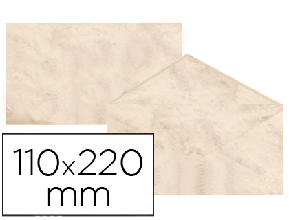 Sobre marmoleado Beige 110 x 220 mm (paqt. 25 unds)