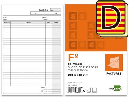 Talonario de facturas en Catalán folio duplicado
