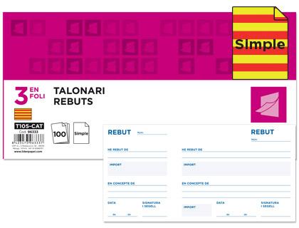 Talonario de recibos en Catalán Original con matriz 102 x 205 mm. (10 unds)