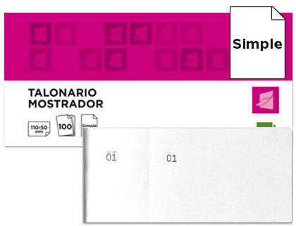 Talonario mostrador Blanco 50 x 110 mm. (20 tacos)