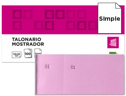 Talonario mostrador Rosa 50 x 110 mm. (20 tacos)
