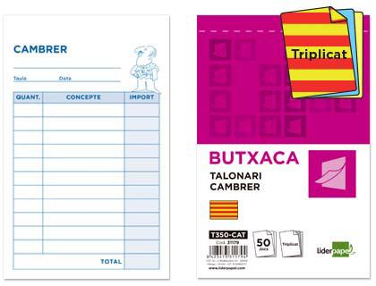 Talonario de camarero en Catalán Triplicado 85 x 135 mm. (10 unds.)