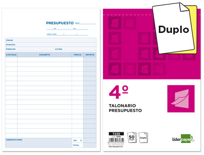 Talonario de presupuesto Duplicado cuarto natural (10 talonarios)