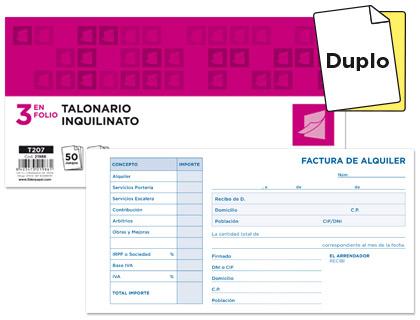 Talonario Alquiler duplicado tamaño recibo (10 talonarios)