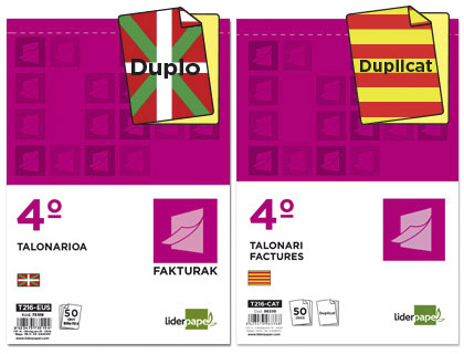 Talonarios con texto en Catalán y Euskera
