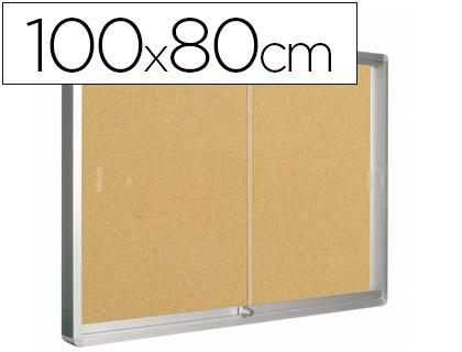 vitrina de anuncios con fondo de corcho