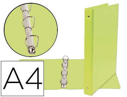 Carpeta 4 anillas 25 mm mixtas A-4 cartón forrado pvc verde pistacho