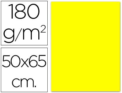Cartulina amarilla limón de 50 x 65 cm (Pack 5 unds)