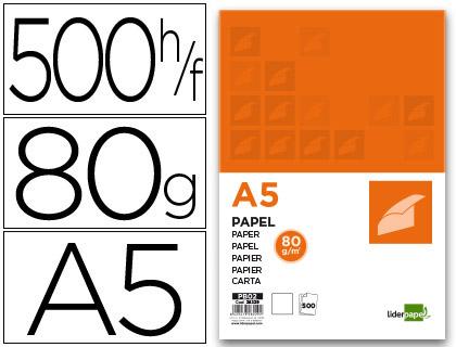 Papel cuartilla A-5 de 80 grs en paquete de 500 hojas