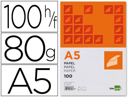 Papel cuartilla A-5 de 80 grs paqt de 100 hojas
