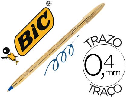 bolígrafo bic dorado