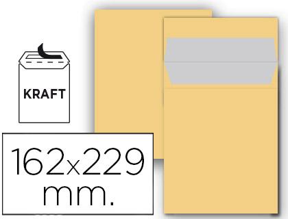 Sobre bolsa 162 x 229 mm marrón kraft 25 unds.