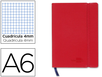 libreta encolada Din A6 roja
