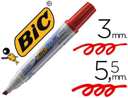Rotulador Bic Velleda rojo punta biselada