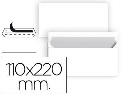 Sobre americano 110 x 220 mm blanco sin ventana 25 unds.
