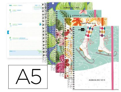 Agenda Escolar 17-18 Bilingüe Fantasía Seasons espiral