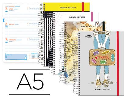 Agenda Escolar 17-18 Bilingüe She Semana Vista Tapa Cartón espiral
