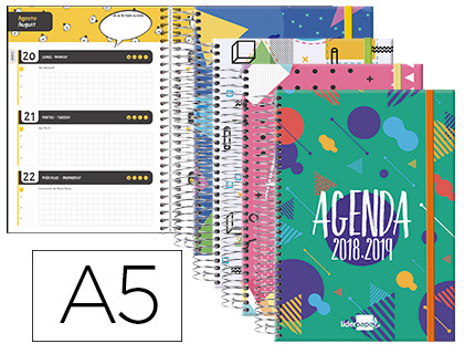 Agenda Escolar 18-19 Bilingüe Classic Semana Vista Tapa Cartón