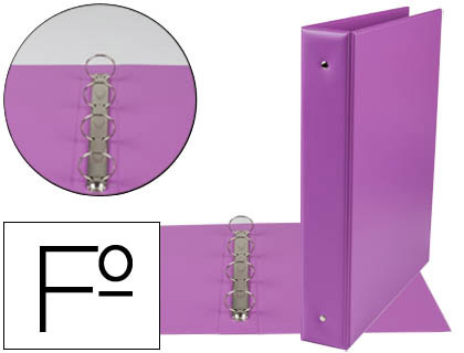 Carpeta 4 anillas 40 mm redondas plástico folio lila lomo 6 cm