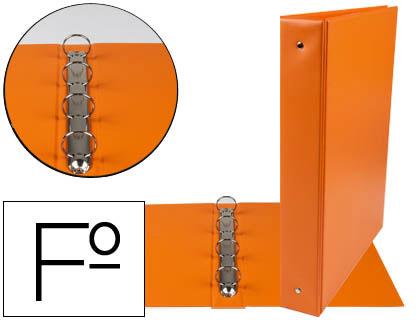 Carpeta 4 anillas 40 mm redondas plástico folio naranja lomo 6 cm
