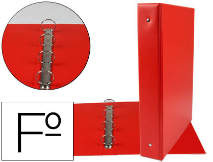 Carpeta 4 anillas 40 mm redondas plástico folio rojo lomo de 6 cm