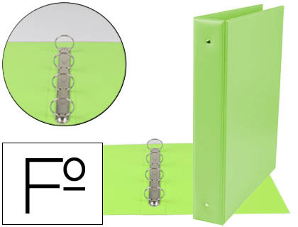 Carpeta 4 anillas 40 mm redondas plástico folio verde pistacho lomo de 6 cm
