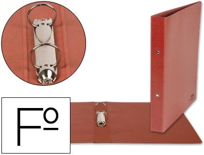 Carpeta cartón cuero de 2 anillas 25mm FOLIO NATURAL lomo 4 cm