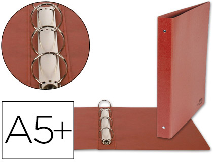 Carpeta cartón cuero de 4 anillas 25mm CUARTO NATURAL lomo 4 cm