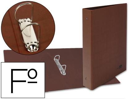 Carpeta cartón cuero forrado FOLIO NATURAL 2 anillas mixtas lomo 4 cm