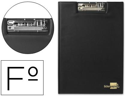 Carpeta con miniclip superior folio negra