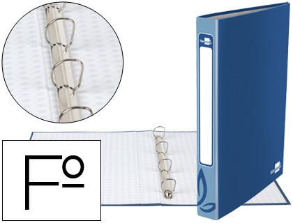 Carpeta de 4 anillas azul 25mm folio cartón forrado