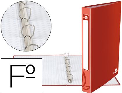 Carpeta de 4 anillas rojo 25mm folio cartón forrado