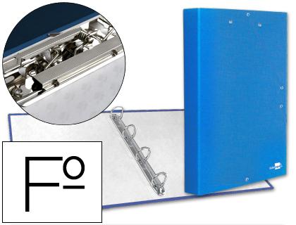 Carpeta de gomas y 4 anillas con miniclip y solapa tamaño folio cartón forrado azul turquesa