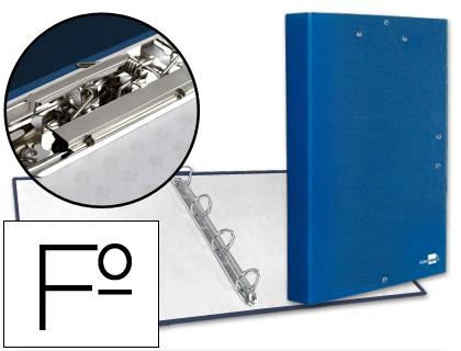 Carpeta de gomas y 4 anillas con miniclip y solapa tamaño folio cartón forrado azul