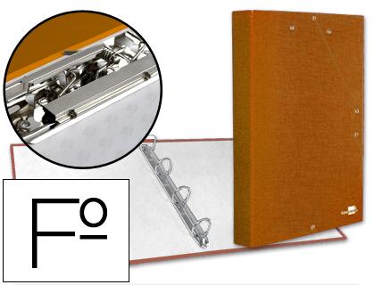 Carpeta de gomas y 4 anillas naranja con miniclip y solapa tamaño folio cartón forrado