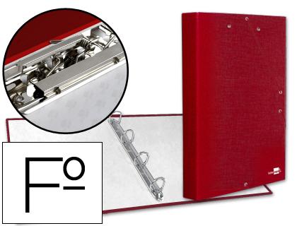 Carpeta de gomas y 4 anillas roja con miniclip y solapa tamaño folio cartón forrado