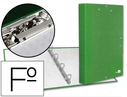 Carpeta de gomas y 4 anillas verde con miniclip y solapa tamaño folio cartón forrado